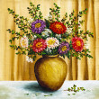 Asters in a clay pot — Stock Photo