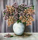 Lilac in a white pot — Stock Photo