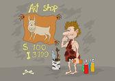 Stone Age Art Shop — Stock Vector