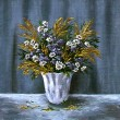 Stock Photo: Wild flowers in white vase
