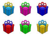 Krabice multi-barevné, náměstí — Stock vektor