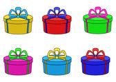 Multicolor cajas, redondo — Vector de stock