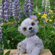 Teddy-bear Chupa among flowers - Stock Photo
