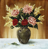 Dahlias in a ceramic vase — Stock Photo