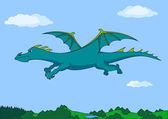 Green dragon in the sky — Vetorial Stock