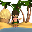 Toon Hula Girl — Stock Photo