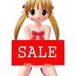 3d figure with sale sign — Stock Photo