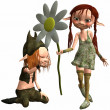 Little Female and Male Troll — Stock Photo