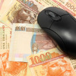 Stock Photo: Using money online by mouse