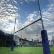 Stock Photo: Rugby goalposts in HDR