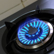 Stock Photo: Gas burner with blue flame