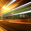 Stockfoto: Fast moving bus at night in Hong Kong