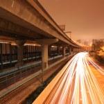 Highway with bridge and railway — Stock Photo