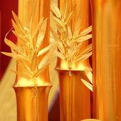Chinese new year scene, man-made golden bamboo — Stock Photo