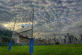 Rugby goalposts in HDR — Stock Photo
