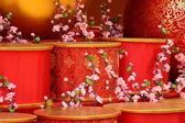 Chinese new year scene, man-made peach blossom — Stock Photo