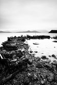 Verspilde materialen op de kust — Stockfoto