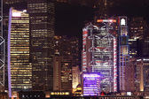 Business buildings at night in Hong Kong — Stock Photo