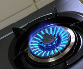Gas burner with blue flame — Stock Photo