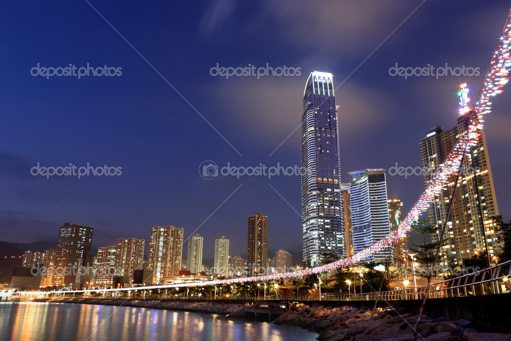 Hong Kong at night with highrise buildings — Stock Photo #2785346
