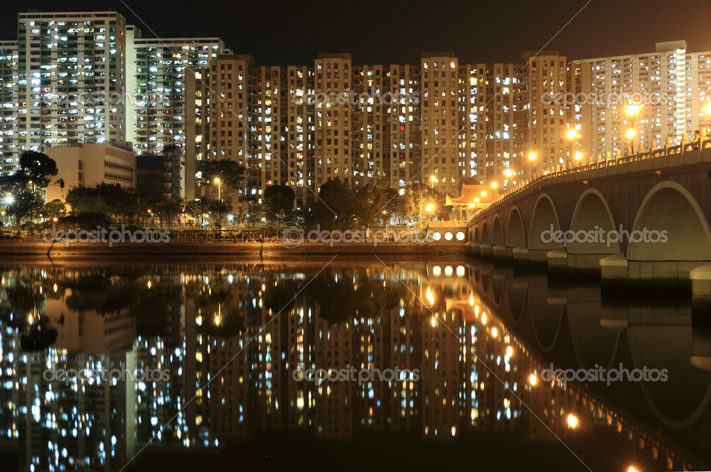 Residential Apartment Buildings in Hong Kong at night — Stock Photo #2822426
