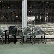 Stock Photo: Old chairs in sport court