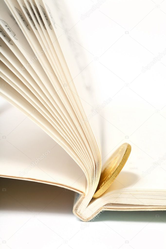 Gold coin in book — Stock Photo #2858625