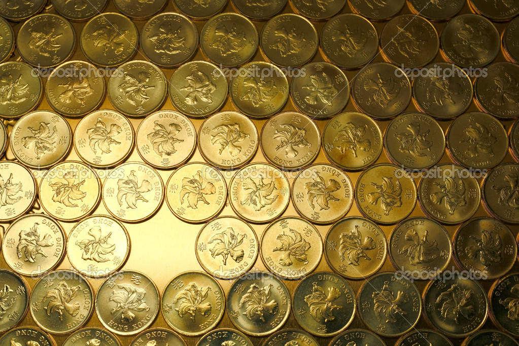 Money background, of Hong Kong currency $0.5 coins, and missed one coin  Stock Photo #2858634