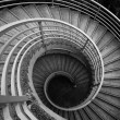 Spiraling stairs, black and white — Stock Photo