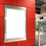 Blank billboard in metro station — Stock Photo