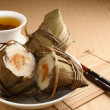 Rice dumplings with tea — Stock Photo