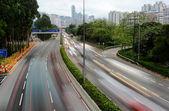 Speed evening traffic motion blur — Stock Photo