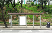 Blank advertising billboard on bus stop — Stock fotografie