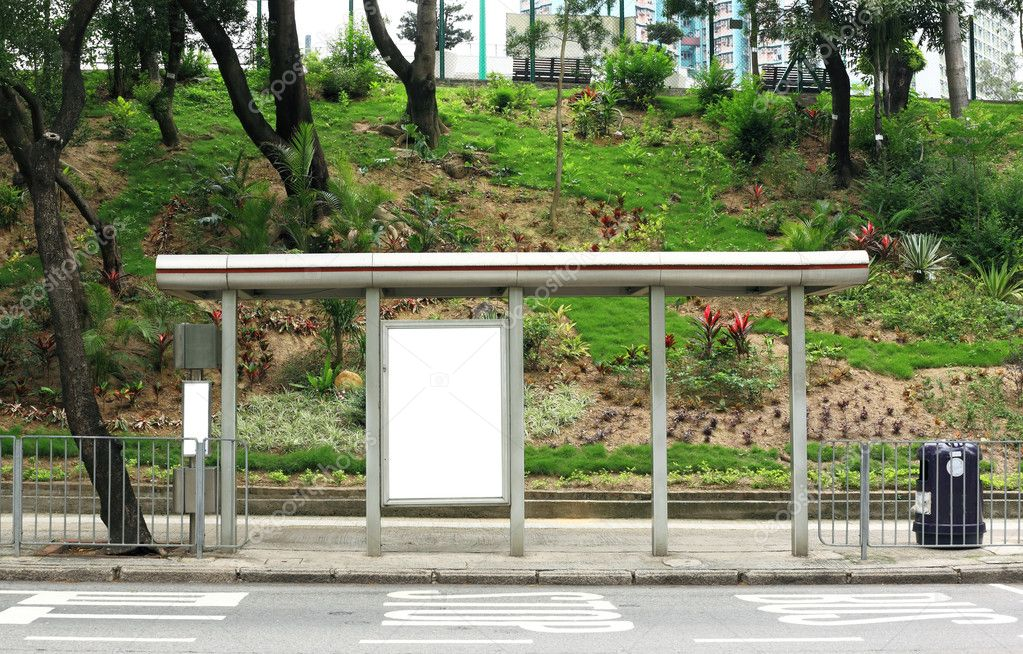 Blank advertising billboard on bus stop — Stock Photo #3315331