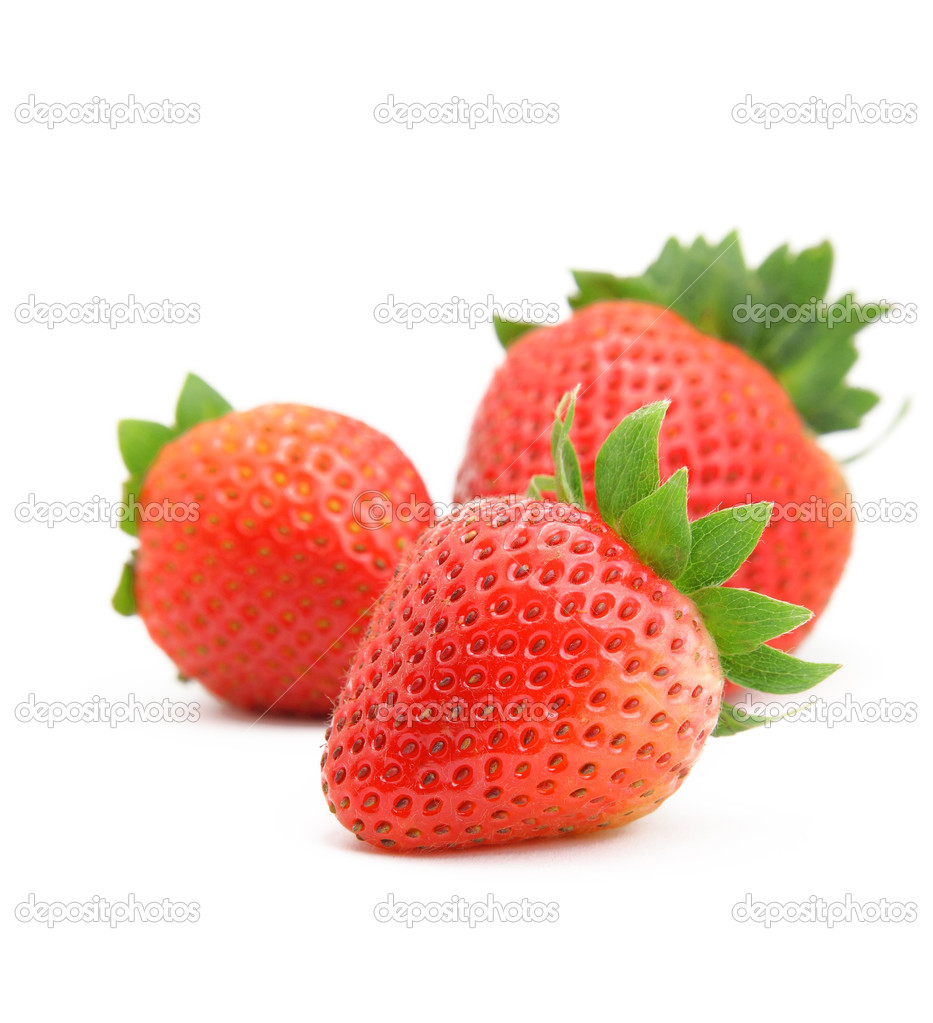 Three strawberries on white background — Stock Photo #3632608