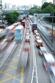 Speed evening traffic motion blur — Stock Photo
