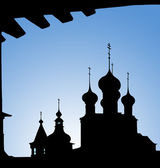 Silhouettes of domes of church — Stock Photo