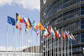 Europarliament and flags — Stock Photo