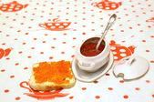 Red granular caviar in ware — Stock Photo