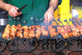 Preparation of a shish kebab — Stock Photo
