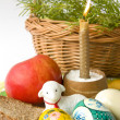 Easter eggs a candle and a lamb — Stock Photo #2761963