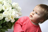 The girl with tulips — Stock Photo