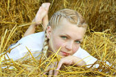 The woman on straw — Stock Photo