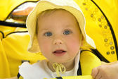 The girl in a yellow hat — Stock Photo