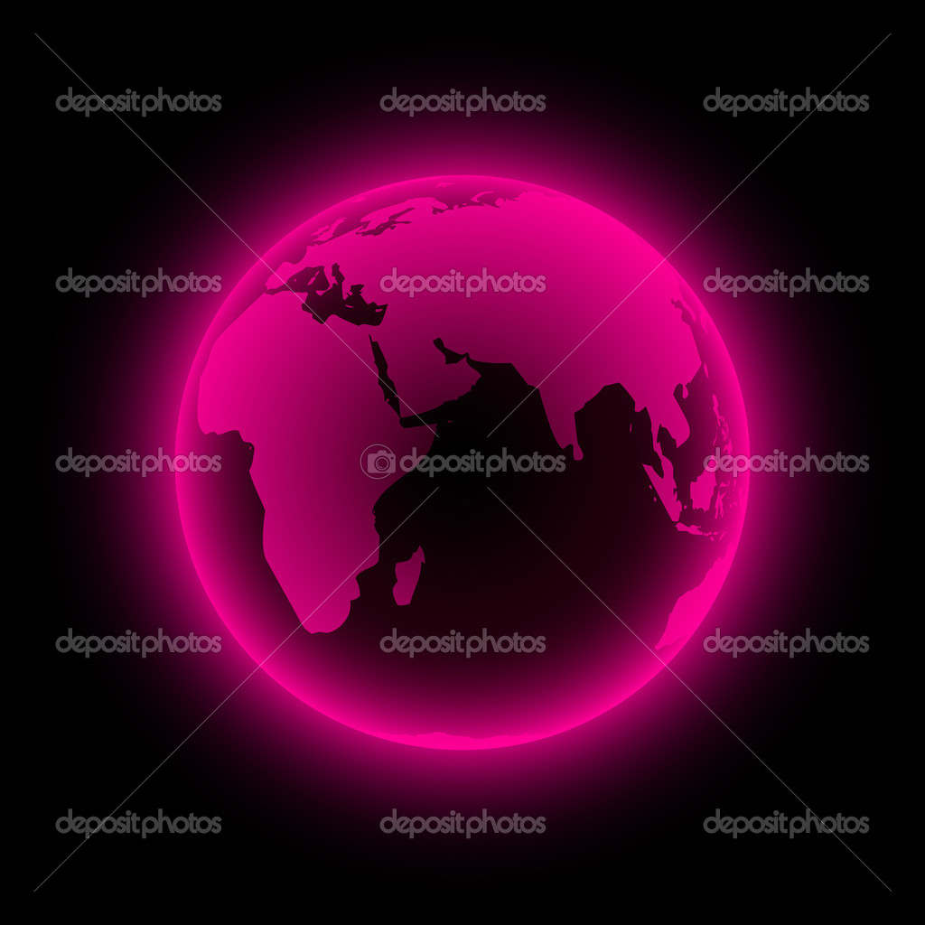 Neon globe icon. Vector illustration.   Stock Vector #2717768