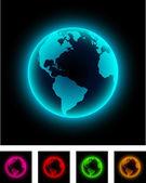 Neon earth. — Stock Vector