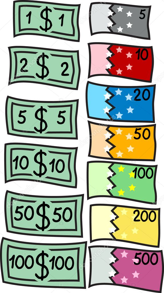 Two collections of different currency: dollars and euro. Vector illustration. — Stock Vector #2721888