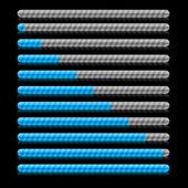 Blue progress indicators. Vector illustration. — Stock Vector
