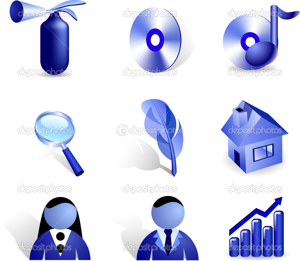 Set of nine three-dimensional vector icons.  — Stock Vector #2751657