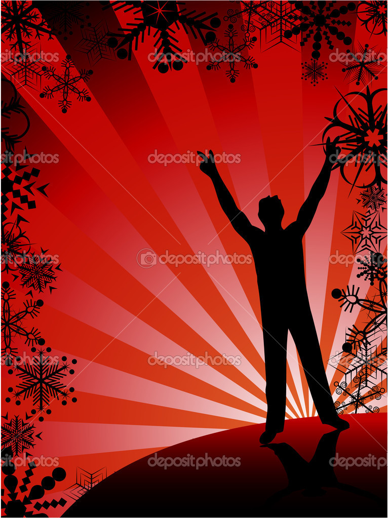 Disco winter background. Vector illustration.  Stock Vector #2751965
